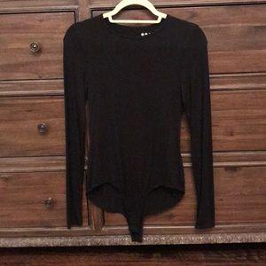 Black long sleeve onesie crew neck bodysuit